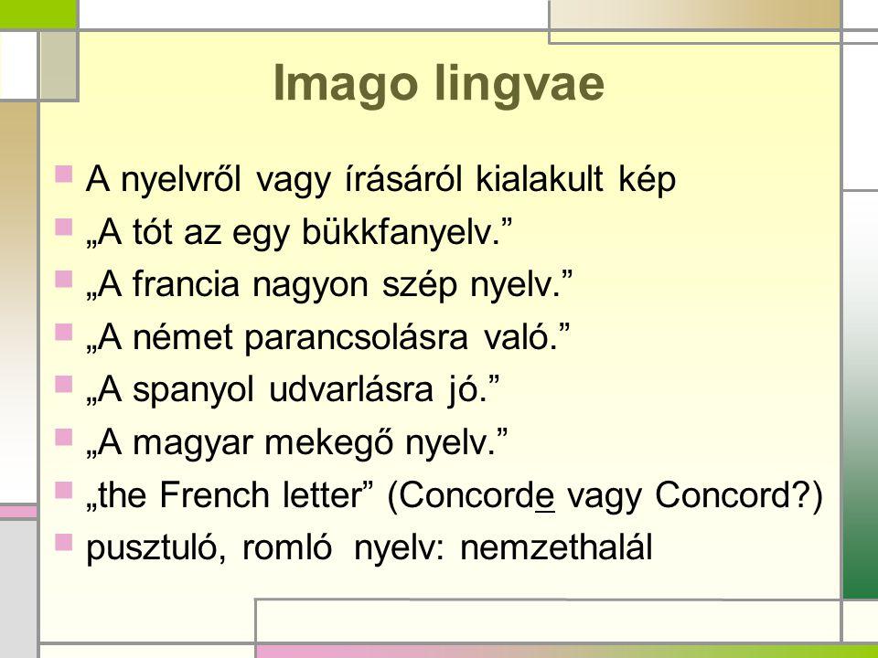 """Imago lingvae  A nyelvről vagy írásáról kialakult kép  """"A tót az egy bükkfanyelv.""""  """"A francia nagyon szép nyelv.""""  """"A német parancsolásra való."""""""