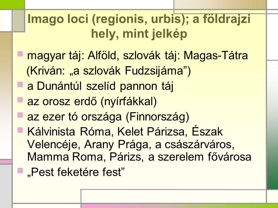 """Imago loci (regionis, urbis); a földrajzi hely, mint jelkép  magyar táj: Alföld, szlovák táj: Magas-Tátra (Kriván: """"a szlovák Fudzsijáma"""")  a Dunánt"""