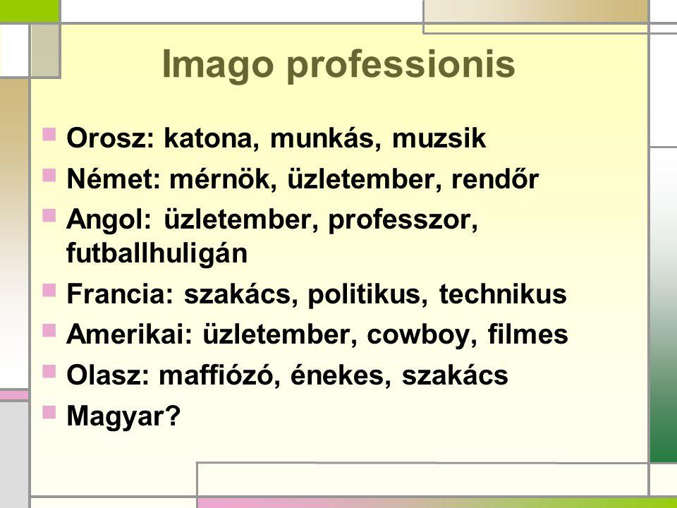 Imago professionis  Orosz: katona, munkás, muzsik  Német: mérnök, üzletember, rendőr  Angol: üzletember, professzor, futballhuligán  Francia: szak