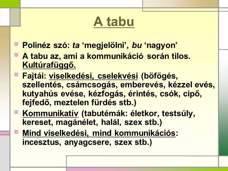 A tabu  Polinéz szó: ta 'megjelölni', bu 'nagyon'  A tabu az, ami a kommunikáció során tilos. Kultúrafüggő.  Fajtái: viselkedési, cselekvési (böfög
