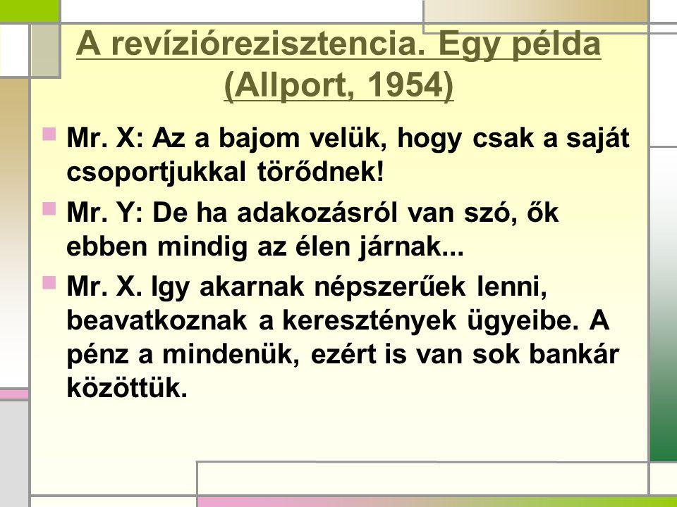 A revíziórezisztencia. Egy példa (Allport, 1954)  Mr. X: Az a bajom velük, hogy csak a saját csoportjukkal törődnek!  Mr. Y: De ha adakozásról van s