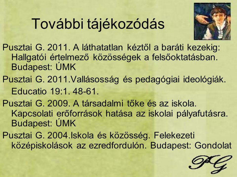 További tájékozódás Pusztai G. 2011. A láthatatlan kéztől a baráti kezekig: Hallgatói értelmező közösségek a felsőoktatásban. Budapest: ÚMK Pusztai G.