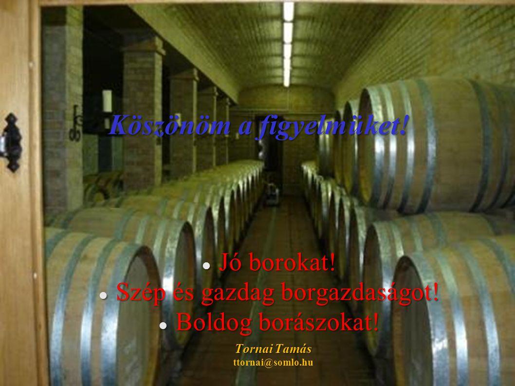 Köszönöm a figyelmüket.  Jó borokat.  Szép és gazdag borgazdaságot.