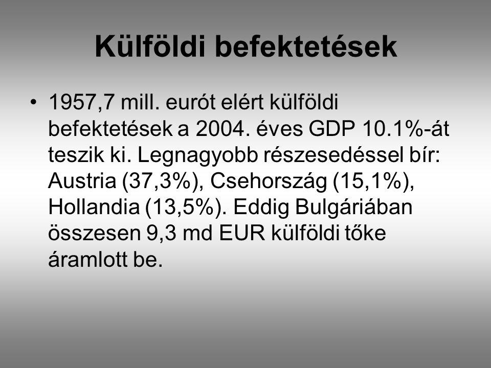Külföldi befektetések •1957,7 mill. eurót elért külföldi befektetések a 2004.