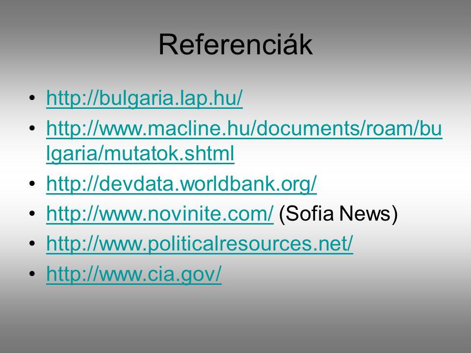 Referenciák •http://bulgaria.lap.hu/http://bulgaria.lap.hu/ •http://www.macline.hu/documents/roam/bu lgaria/mutatok.shtmlhttp://www.macline.hu/documents/roam/bu lgaria/mutatok.shtml •http://devdata.worldbank.org/http://devdata.worldbank.org/ •http://www.novinite.com/ (Sofia News)http://www.novinite.com/ •http://www.politicalresources.net/http://www.politicalresources.net/ •http://www.cia.gov/http://www.cia.gov/