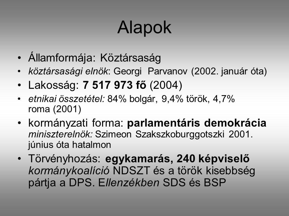 Alapok •Államformája: Köztársaság •köztársasági elnök: Georgi Parvanov (2002.