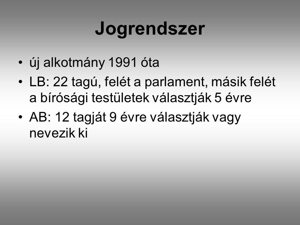 Jogrendszer •új alkotmány 1991 óta •LB: 22 tagú, felét a parlament, másik felét a bírósági testületek választják 5 évre •AB: 12 tagját 9 évre választják vagy nevezik ki
