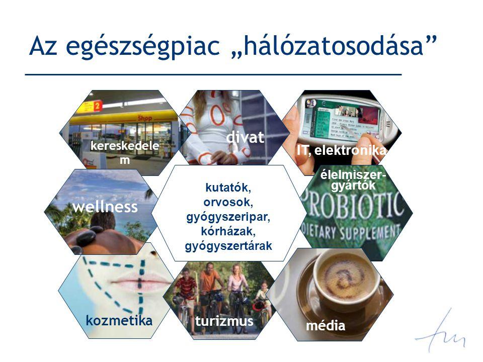 """Az egészségpiac """"hálózatosodása kozmetika turizmus divat kereskedele m wellness kutatók, orvosok, gyógyszeripar, kórházak, gyógyszertárak média élelmiszer- gyártók IT, elektronika"""