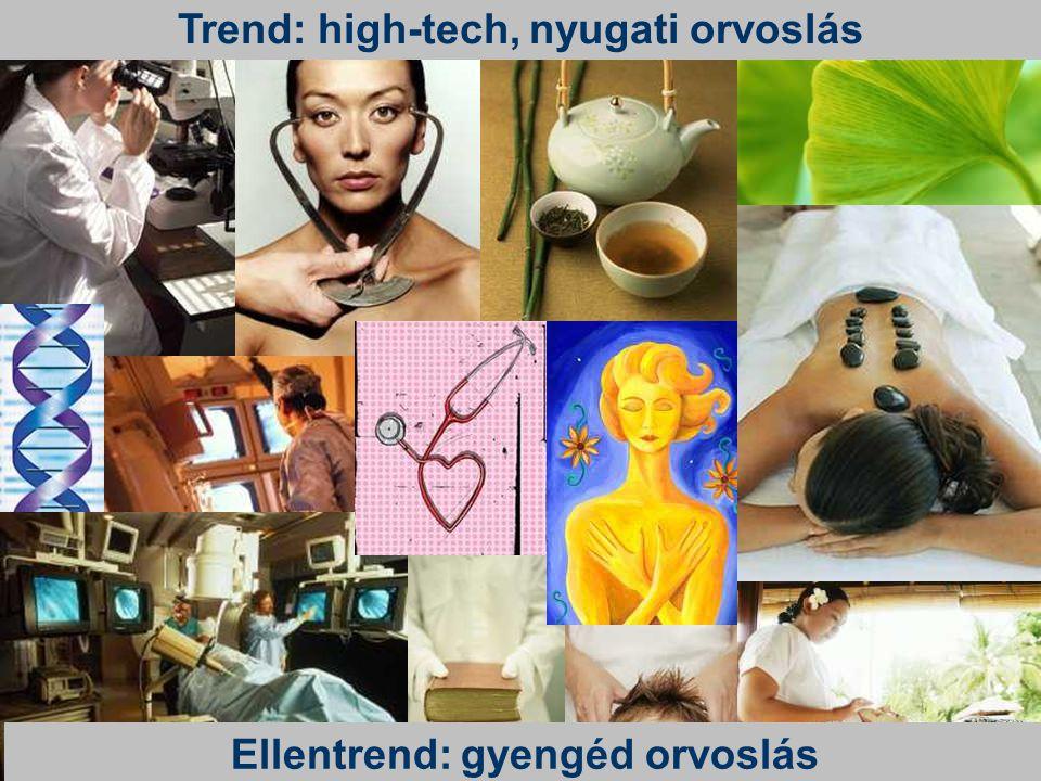Trend: high-tech, nyugati orvoslás Ellentrend: gyengéd orvoslás