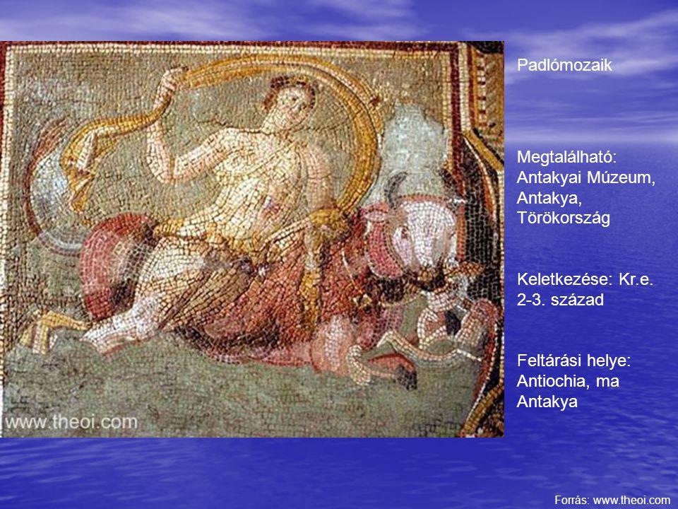 Padlómozaik Megtalálható: Antakyai Múzeum, Antakya, Törökország Keletkezése: Kr.e. 2-3. század Feltárási helye: Antiochia, ma Antakya Forrás: www.theo