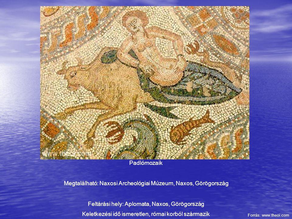 Padlómozaik Megtalálható: Naxosi Archeológiai Múzeum, Naxos, Görögország Feltárási hely: Aplomata, Naxos, Görögország Keletkezési idő ismeretlen, róma