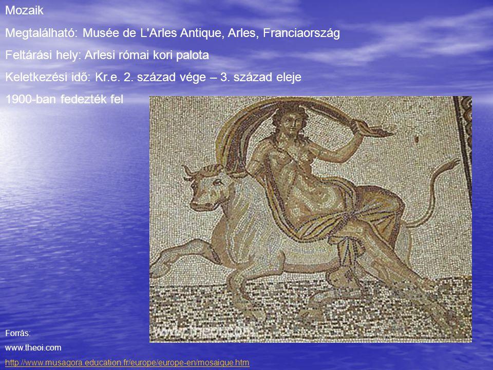 Mozaik Megtalálható: Musée de L'Arles Antique, Arles, Franciaország Feltárási hely: Arlesi római kori palota Keletkezési idő: Kr.e. 2. század vége – 3