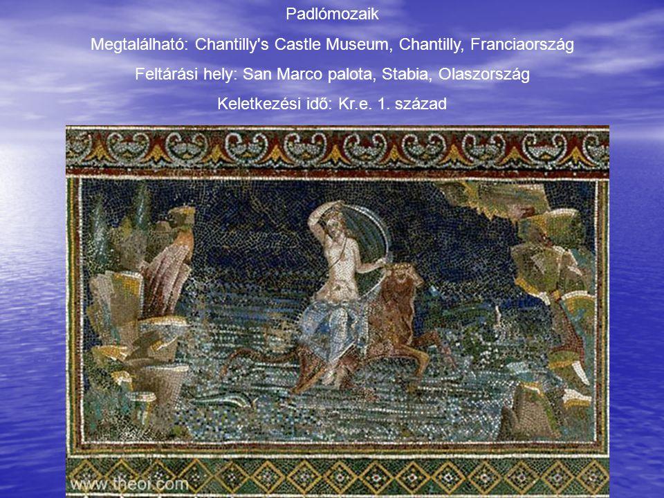 Padlómozaik Megtalálható: Chantilly's Castle Museum, Chantilly, Franciaország Feltárási hely: San Marco palota, Stabia, Olaszország Keletkezési idő: K