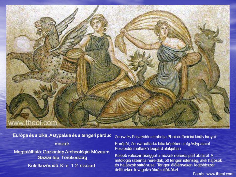 Európa és a bika, Astypalaia és a tengeri párduc mozaik Megtalálható: Gaziantep Archeológiai Múzeum, Gaziantep, Törökország Keletkezés idő: Kr.e. 1-2.