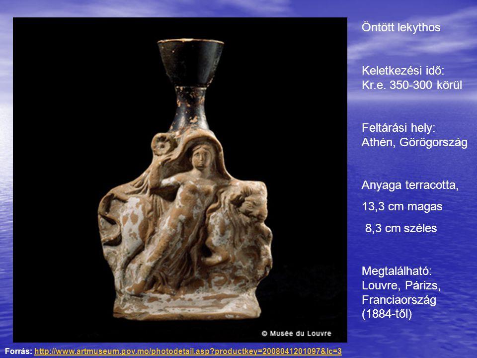 Öntött lekythos Keletkezési idő: Kr.e. 350-300 körül Feltárási hely: Athén, Görögország Anyaga terracotta, 13,3 cm magas 8,3 cm széles Megtalálható: L