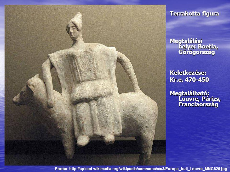 Terrakotta figura Megtalálási helye: Boetia, Görögország Keletkezése: Kr.e. 470-450 Megtalálható: Louvre, Párizs, Franciaország Forrás: http://upload.