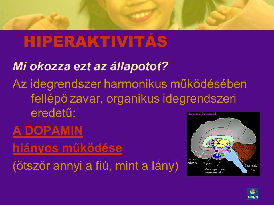 17 HIPERAKTIVITÁS Mi okozza ezt az állapotot? Az idegrendszer harmonikus működésében fellépő zavar, organikus idegrendszeri eredetű: A DOPAMIN hiányos