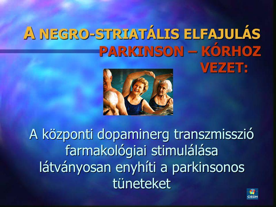 20 A NEGRO-STRIATÁLIS ELFAJULÁS PARKINSON – KÓRHOZ VEZET: A központi dopaminerg transzmisszió farmakológiai stimulálása látványosan enyhíti a parkinso
