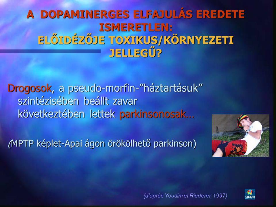 """21 A DOPAMINERGES ELFAJULÁS EREDETE ISMERETLEN: ELŐIDÉZŐJE TOXIKUS/KÖRNYEZETI JELLEGŰ? Drogosok, a pseudo-morfin-""""háztartásuk"""" szintézisében beállt za"""