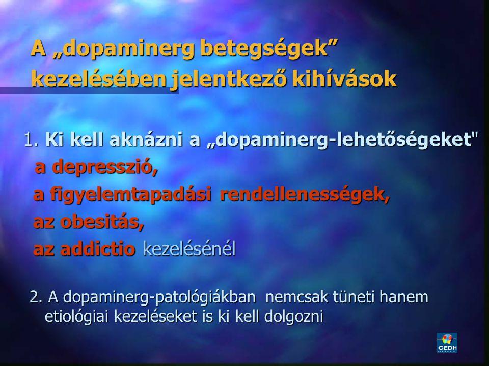 """22 A """"dopaminerg betegségek"""" A """"dopaminerg betegségek"""" kezelésében jelentkező kihívások kezelésében jelentkező kihívások 1. Ki kell aknázni a """"dopamin"""