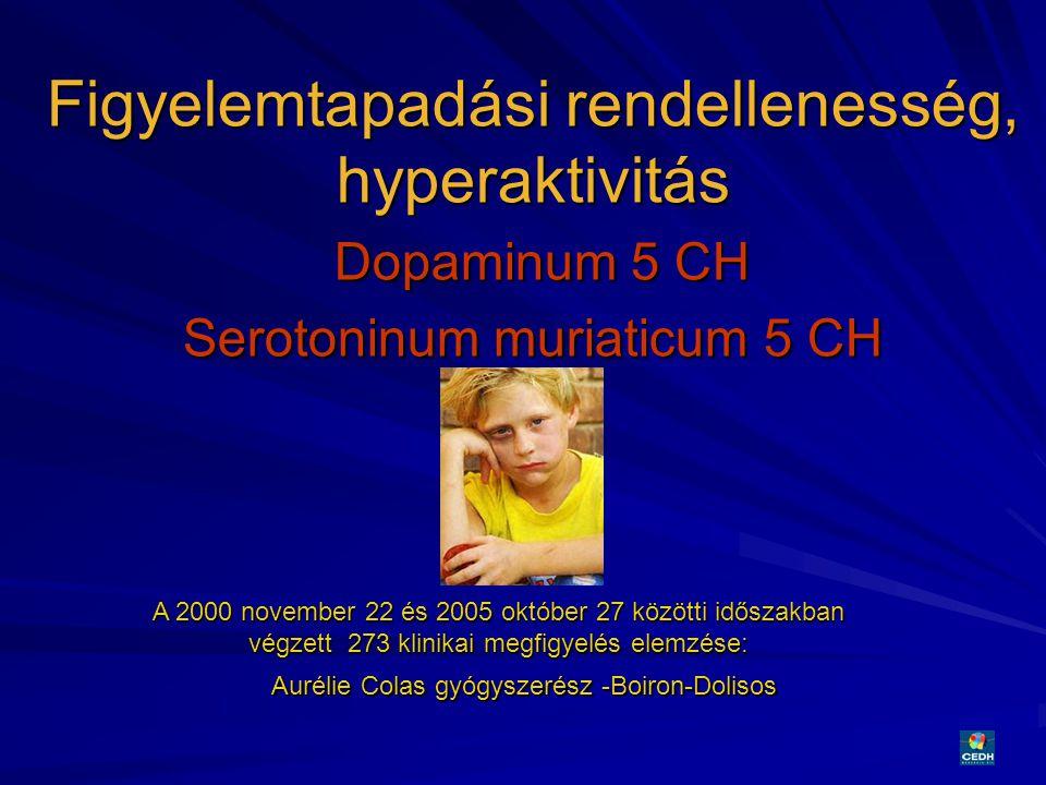 25 Figyelemtapadási rendellenesség, hyperaktivitás Dopaminum 5 CH Serotoninum muriaticum 5 CH A 2000 november 22 és 2005 október 27 közötti időszakban