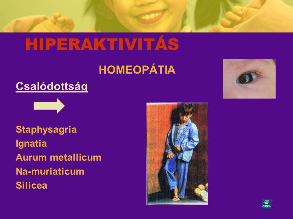 39 HIPERAKTIVITÁS HOMEOPÁTIA Csalódottság Staphysagria Ignatia Aurum metallicum Na-muriaticum Silicea
