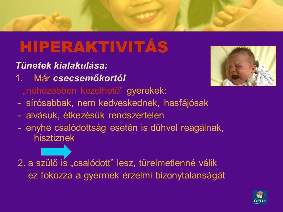 """8 HIPERAKTIVITÁS Tünetek kialakulása: 1.Már csecsemőkortól """"nehezebben kezelhető"""" gyerekek: - sírósabbak, nem kedveskednek, hasfájósak - alvásuk, étke"""