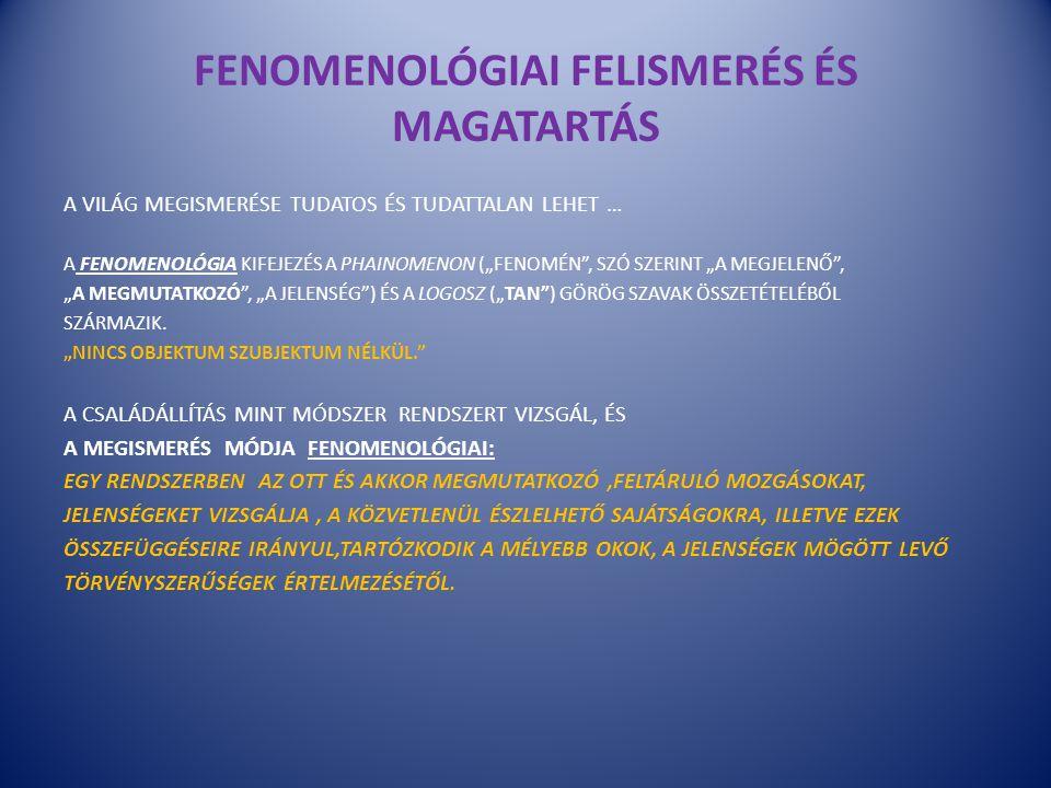 """FENOMENOLÓGIAI FELISMERÉS ÉS MAGATARTÁS A VILÁG MEGISMERÉSE TUDATOS ÉS TUDATTALAN LEHET … A FENOMENOLÓGIA KIFEJEZÉS A PHAINOMENON (""""FENOMÉN"""", SZÓ SZER"""