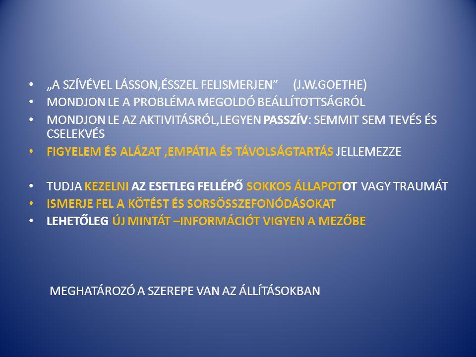 """• """"A SZÍVÉVEL LÁSSON,ÉSSZEL FELISMERJEN"""" (J.W.GOETHE) • MONDJON LE A PROBLÉMA MEGOLDÓ BEÁLLÍTOTTSÁGRÓL • MONDJON LE AZ AKTIVITÁSRÓL,LEGYEN PASSZÍV: SE"""