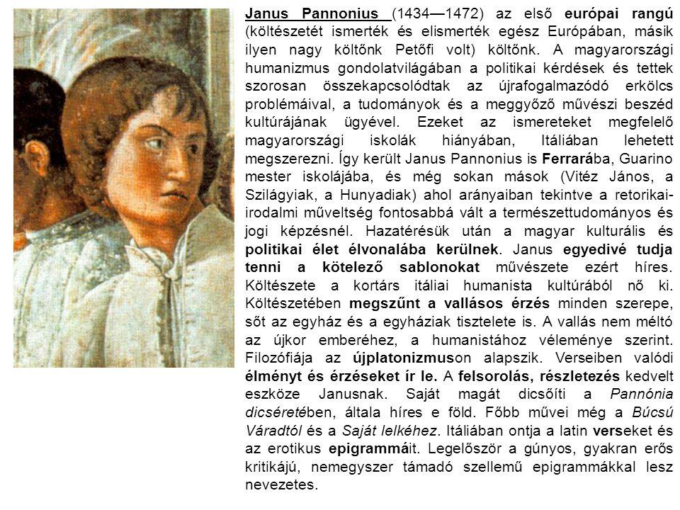 Janus Pannonius (1434—1472) az első európai rangú (költészetét ismerték és elismerték egész Európában, másik ilyen nagy költőnk Petőfi volt) költőnk.