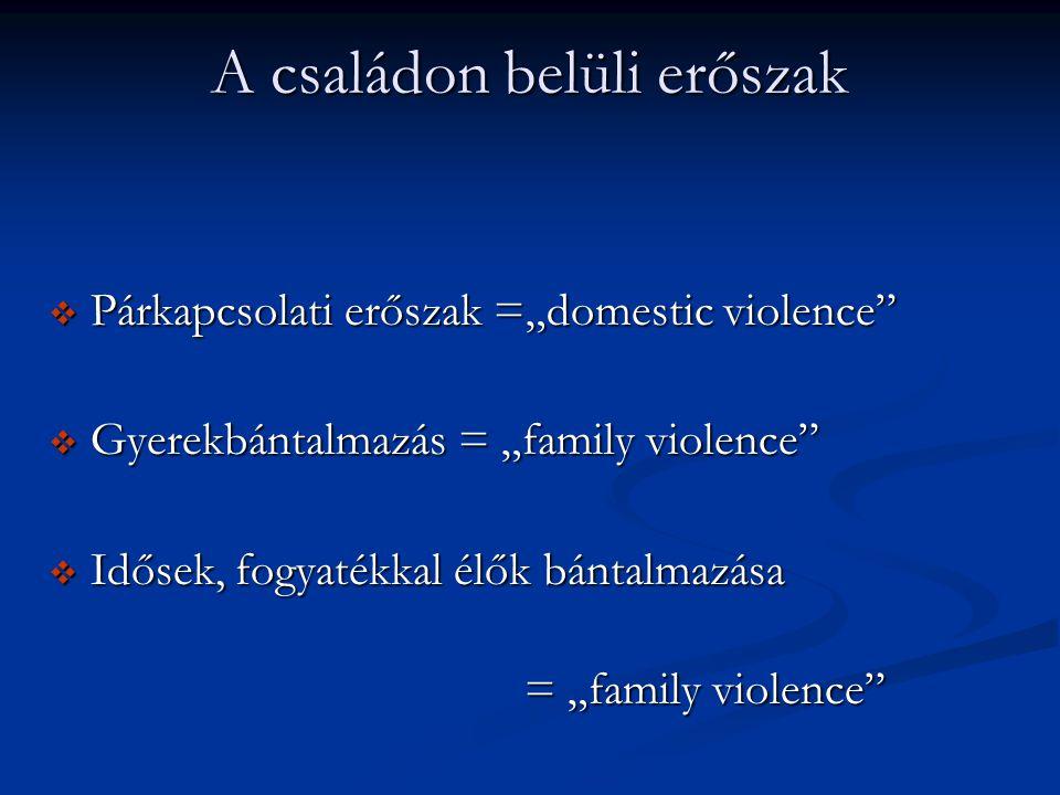 """A családon belüli erőszak  Párkapcsolati erőszak =""""domestic violence""""  Gyerekbántalmazás = """"family violence""""  Idősek, fogyatékkal élők bántalmazása"""