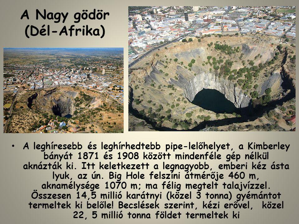 A Nagy gödör (Dél-Afrika) • A leghíresebb és leghírhedtebb pipe-lelőhelyet, a Kimberley bányát 1871 és 1908 között mindenféle gép nélkül aknázták ki.