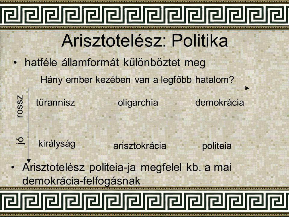 Arisztotelész: Politika Hány ember kezében van a legfőbb hatalom? rossz jó •h•hatféle államformát különböztet meg türanniszoligarchiademokrácia király
