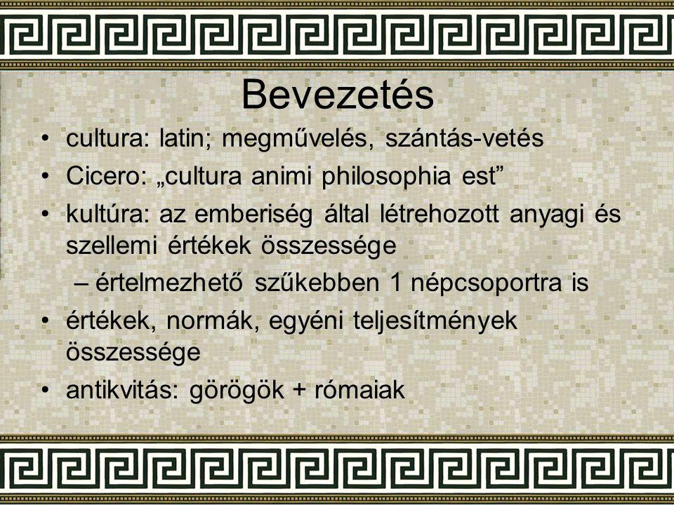 Bevezetés Görög kultúrára befolyást gyakorolt: 1.minószi civilizáció (közvetítő szerep) 2.föníciai (mgh.