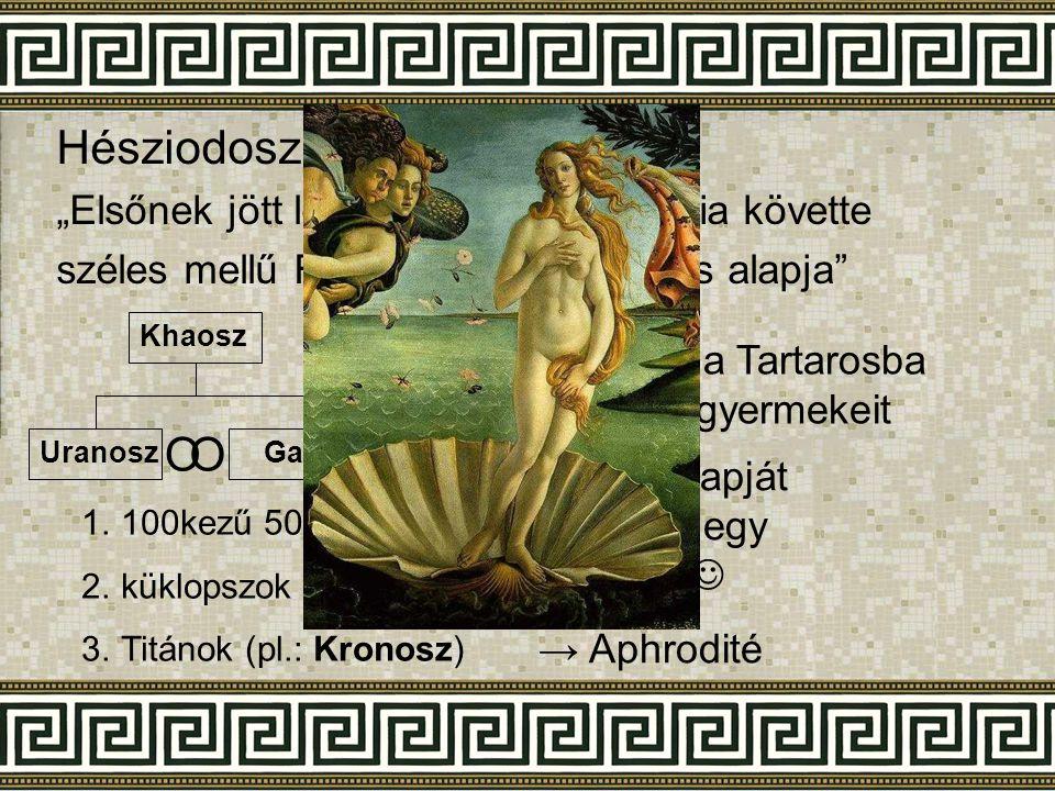 """Hésziodosz: Istenek születése """"Elsőnek jött létre Khaosz, majd Gaia követte széles mellű Föld, mindennek biztos alapja"""" Khaosz UranoszGaia 1.100kezű 5"""
