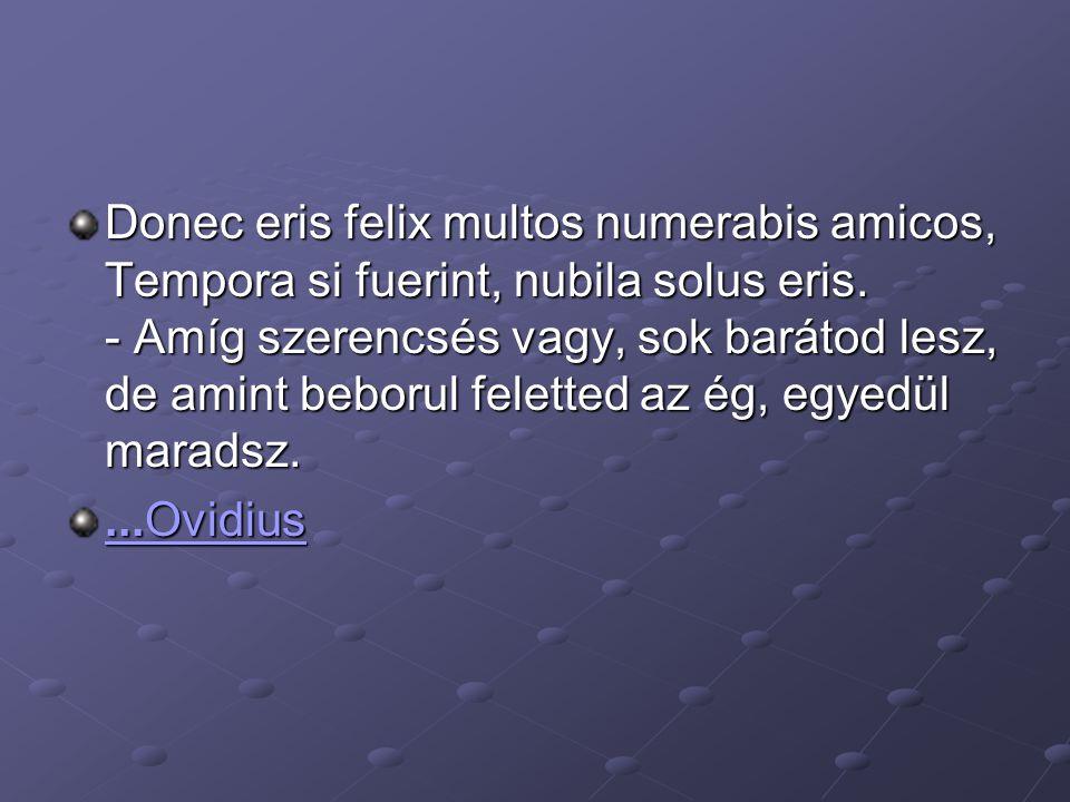 Donec eris felix multos numerabis amicos, Tempora si fuerint, nubila solus eris. - Amíg szerencsés vagy, sok barátod lesz, de amint beborul feletted a