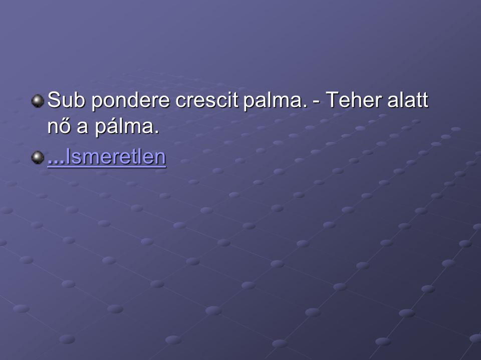 Sub pondere crescit palma. - Teher alatt nő a pálma....Ismeretlen...Ismeretlen