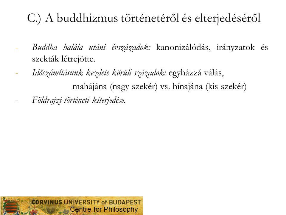 C.) A buddhizmus történetéről és elterjedéséről -Buddha halála utáni évszázadok: kanonizálódás, irányzatok és szekták létrejötte. -Időszámításunk kezd