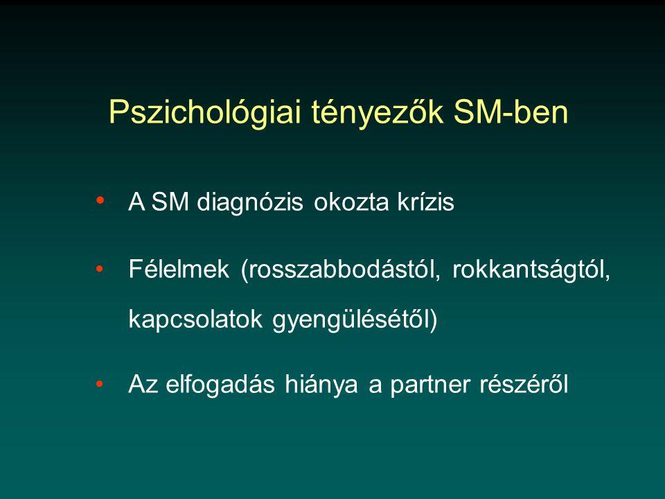 Pszichológiai tényezők SM-ben • A SM diagnózis okozta krízis • Félelmek (rosszabbodástól, rokkantságtól, kapcsolatok gyengülésétől) • Az elfogadás hiánya a partner részéről