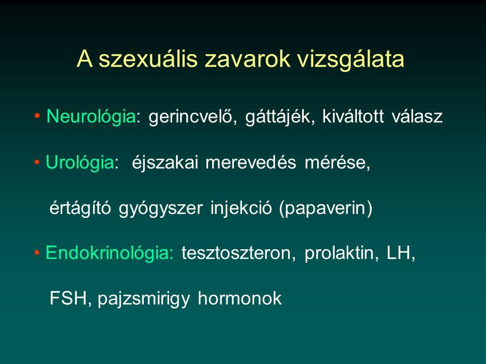 • Neurológia: gerincvelő, gáttájék, kiváltott válasz • Urológia: éjszakai merevedés mérése, értágító gyógyszer injekció (papaverin) • Endokrinológia: tesztoszteron, prolaktin, LH, FSH, pajzsmirigy hormonok
