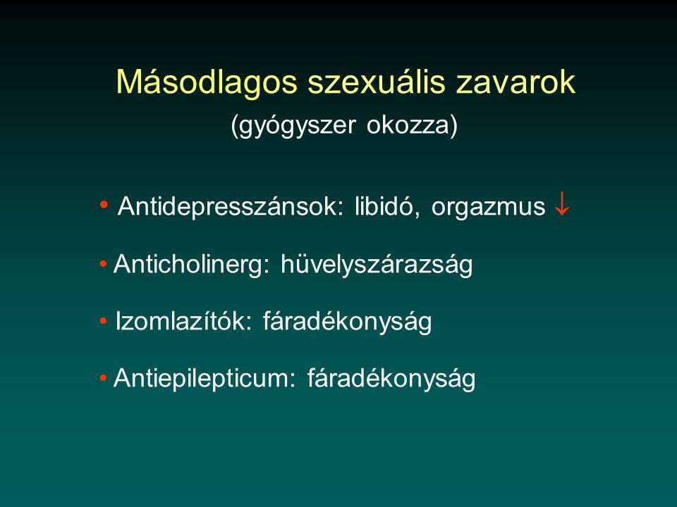 Másodlagos szexuális zavarok (gyógyszer okozza) • Antidepresszánsok: libidó, orgazmus  • Anticholinerg: hüvelyszárazság • Izomlazítók: fáradékonyság • Antiepilepticum: fáradékonyság