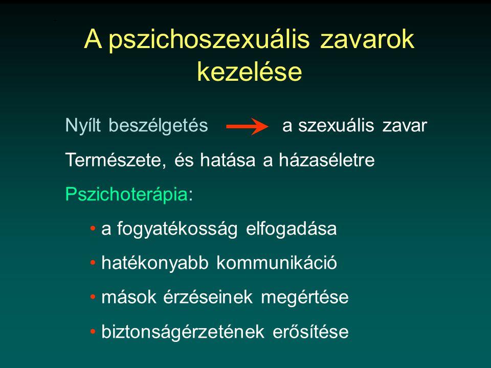 Nyílt beszélgetés a szexuális zavar Természete, és hatása a házaséletre Pszichoterápia: • a fogyatékosság elfogadása • hatékonyabb kommunikáció • mások érzéseinek megértése • biztonságérzetének erősítése - A pszichoszexuális zavarok kezelése