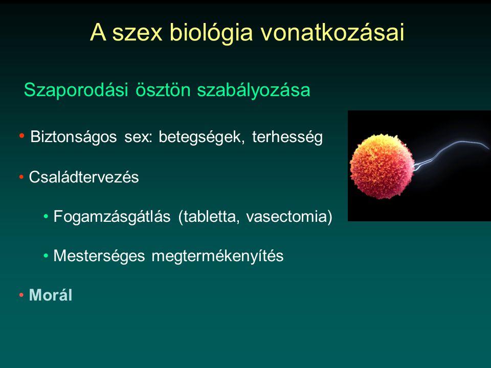 Szaporodási ösztön szabályozása • Biztonságos sex: betegségek, terhesség • Családtervezés • Fogamzásgátlás (tabletta, vasectomia) • Mesterséges megtermékenyítés • Morál A szex biológia vonatkozásai