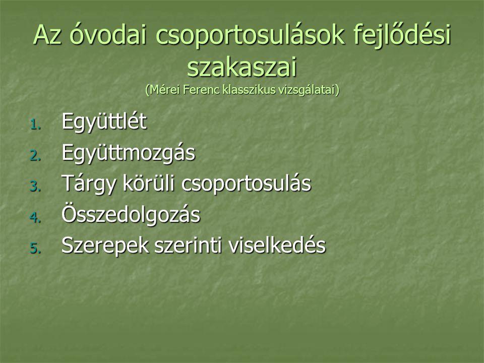Az óvodai csoportosulások fejlődési szakaszai (Mérei Ferenc klasszikus vizsgálatai) 1. Együttlét 2. Együttmozgás 3. Tárgy körüli csoportosulás 4. Össz