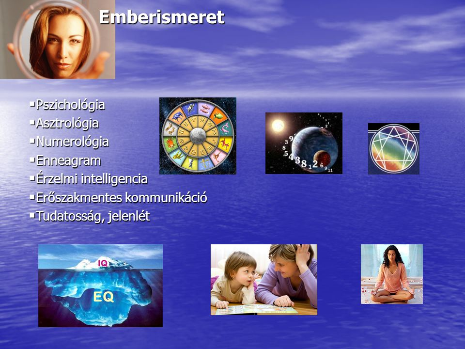 Emberismeret  Pszichológia  Asztrológia  Numerológia  Enneagram  Érzelmi intelligencia  Erőszakmentes kommunikáció  Tudatosság, jelenlét