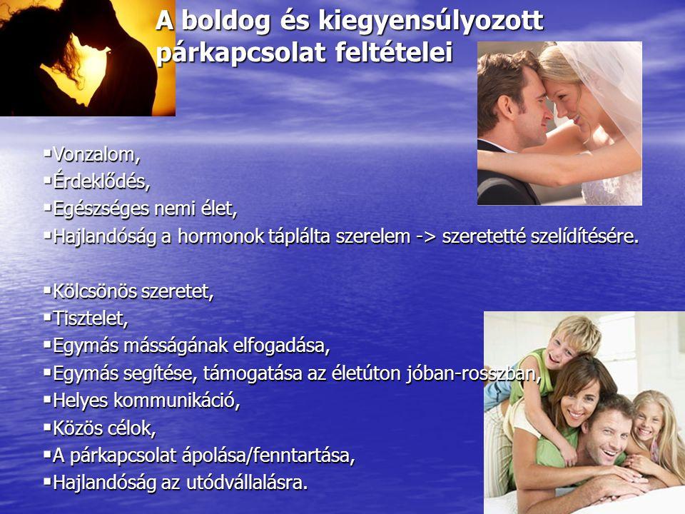 A boldog és kiegyensúlyozott párkapcsolat feltételei  Vonzalom,  Érdeklődés,  Egészséges nemi élet,  Hajlandóság a hormonok táplálta szerelem -> s