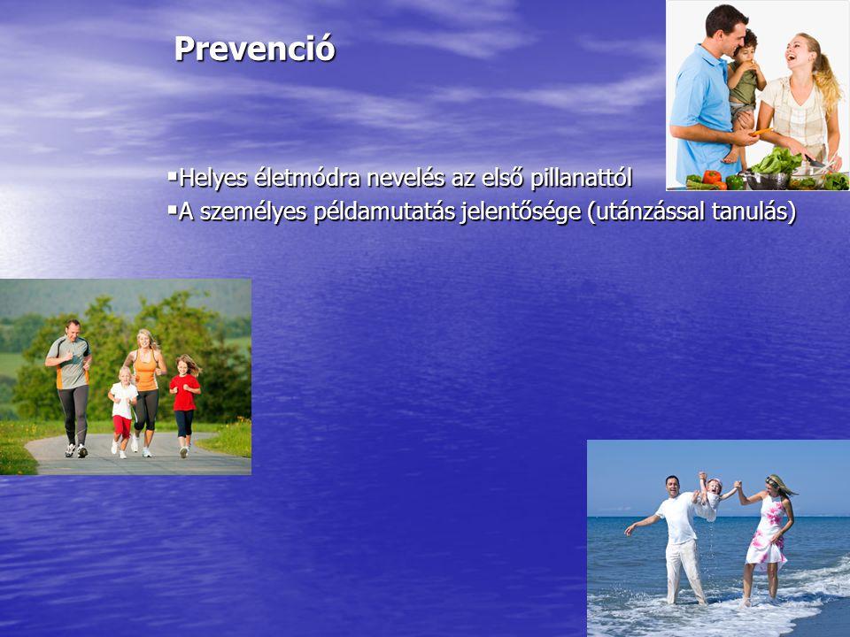 Prevenció  Helyes életmódra nevelés az első pillanattól  A személyes példamutatás jelentősége (utánzással tanulás)