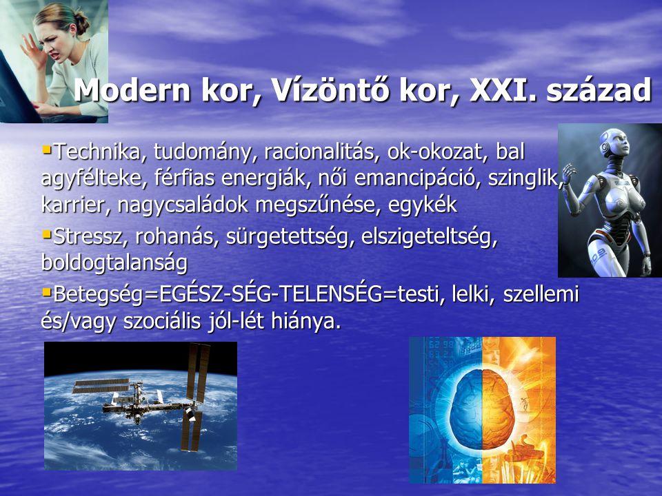Modern kor, Vízöntő kor, XXI. század Modern kor, Vízöntő kor, XXI. század  Technika, tudomány, racionalitás, ok-okozat, bal agyfélteke, férfias energ