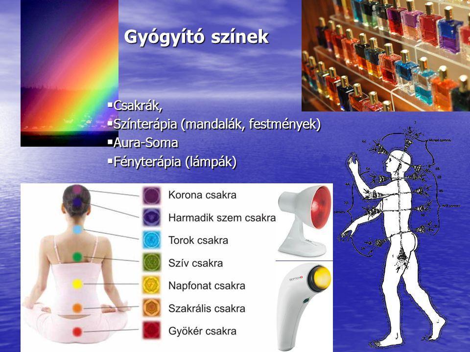 Gyógyító színek  Csakrák,  Színterápia (mandalák, festmények)  Aura-Soma  Fényterápia (lámpák)