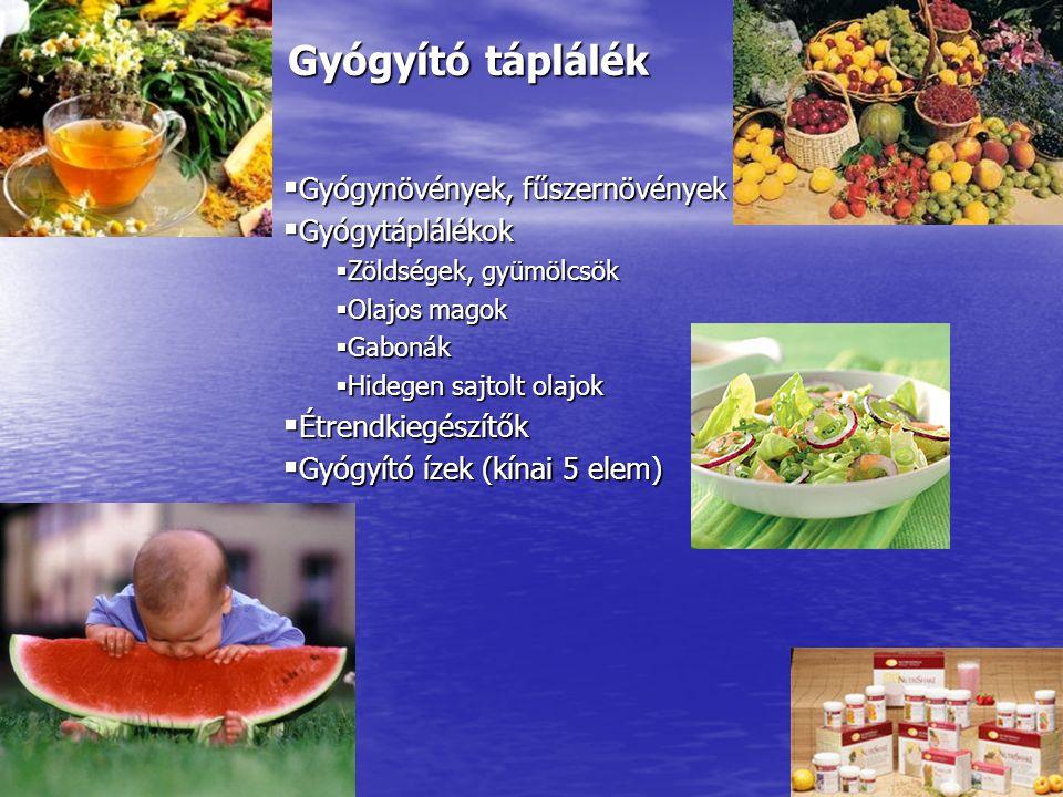 Gyógyító táplálék  Gyógynövények, fűszernövények  Gyógytáplálékok  Zöldségek, gyümölcsök  Olajos magok  Gabonák  Hidegen sajtolt olajok  Étrend